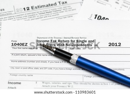 Tax form 1040ez for tax year 2012 for US individual tax return - stock photo