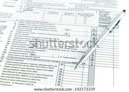 Tax form 1040 for tax year - stock photo