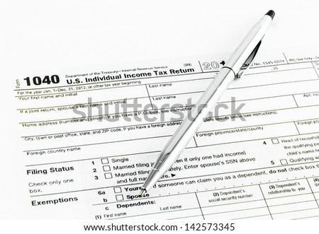 Tax form 1040 for tax year 2012
