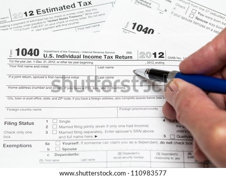 Tax Form 1040 Tax Year 2012 Stock Photo Edit Now Shutterstock