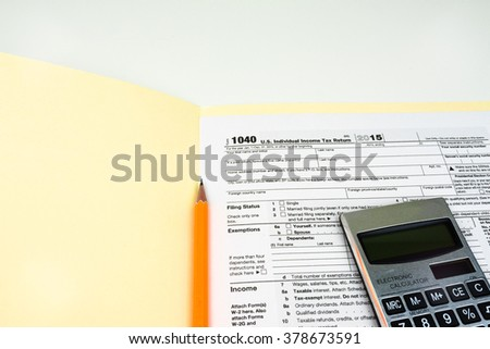 Tax Form 1040, Tax Form Details for Tax Season with Light Background