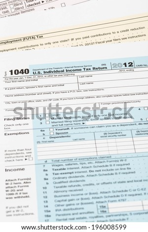 Tax form taxation concept - stock photo