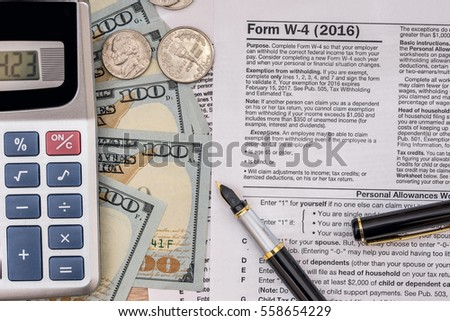 W 4 Tax Form Pen On Stock Photo 590491541 - Shutterstock