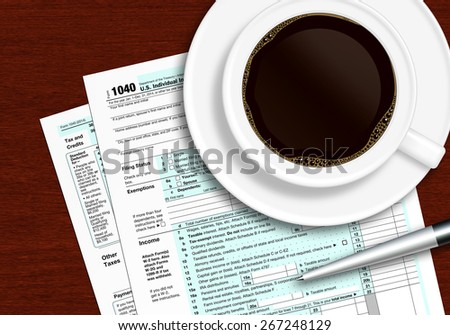 tax form 1040 with pen and coffee lying on wooden table