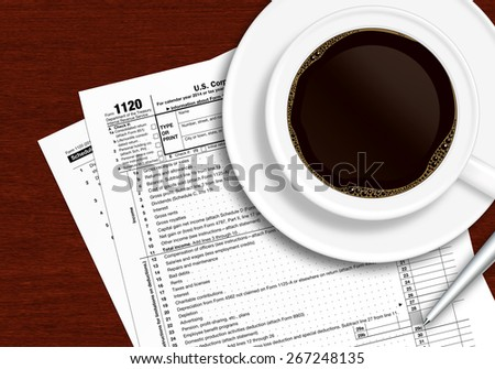 tax form 1120 with pen and coffee lying on wooden table