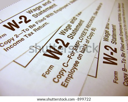 Tax Forms - W-2 - stock photo