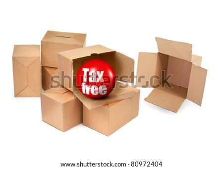 tax free concept - cardboard boxes and 3D sale ball, photo does not infringe any copyright - stock photo