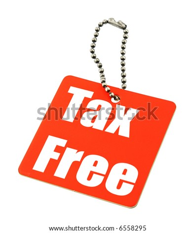 tax free price tag against white background - stock photo