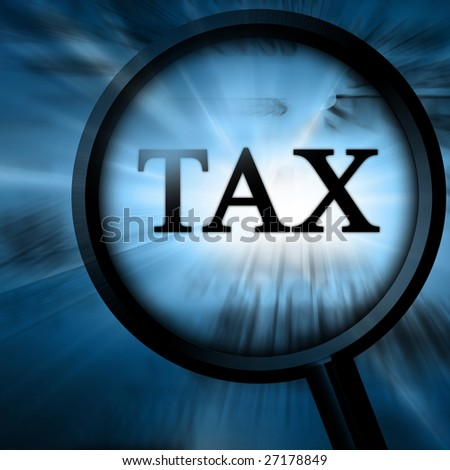 tax in the paper on a blue background - stock photo