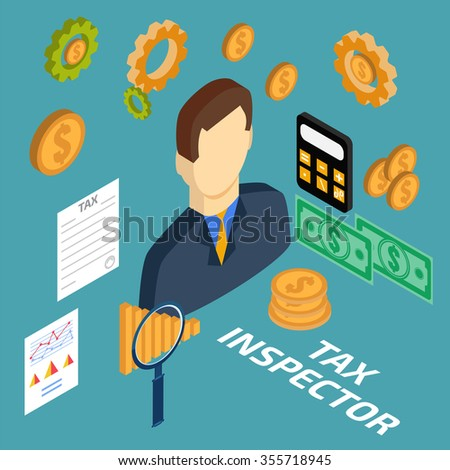 Tax inspector isometric - stock photo
