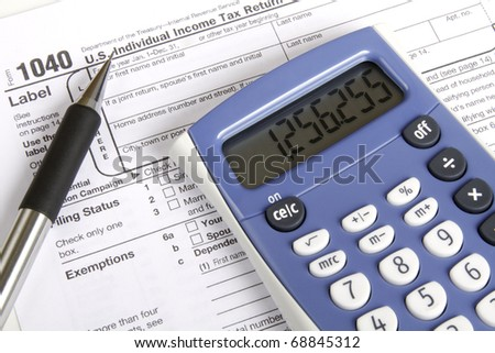 Tax preparation and tools - stock photo
