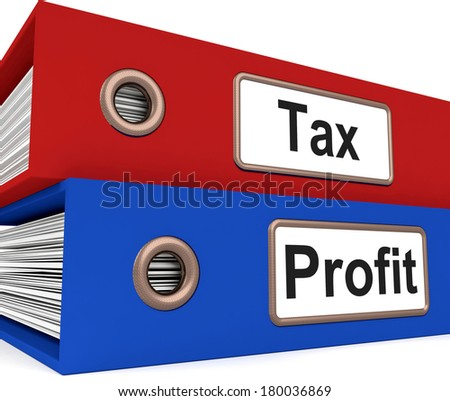 Tax Profit Folders Showing Paying Income Taxes