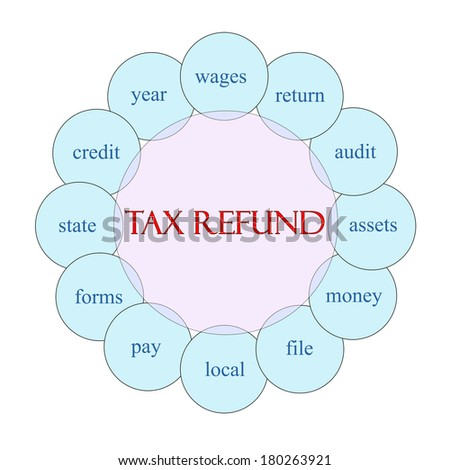Tax Refund concept circular diagram in pink and blue with great terms such as wages, return, audit and more.