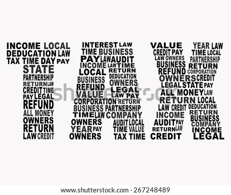 Tax related words in tax shape letter on white background.