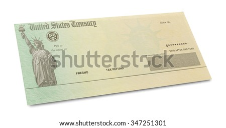 Tax Retrun Check with Copy Space Isolated on White Background. - stock photo