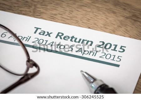 Tax return 2015 - stock photo