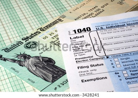 Tax Return and Refund Check - stock photo