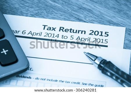 Tax return form 2015 - stock photo