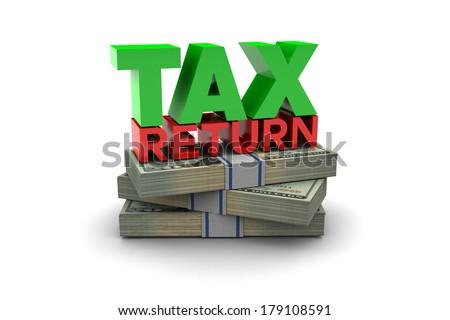 Tax Return illustration isolated on white background - stock photo