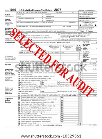 Tax Return that has been selected for an audit - stock photo