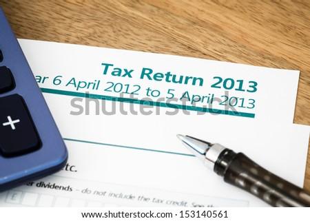 Tax return UK 2013 - stock photo