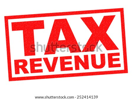 TAX REVENUE red Rubber Stamp over a white background. - stock photo