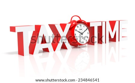 Tax Time and Red Alarm Clock. 3D Rendering - stock photo