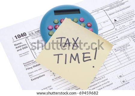 Tax Time in USA Concept Image on White. - stock photo