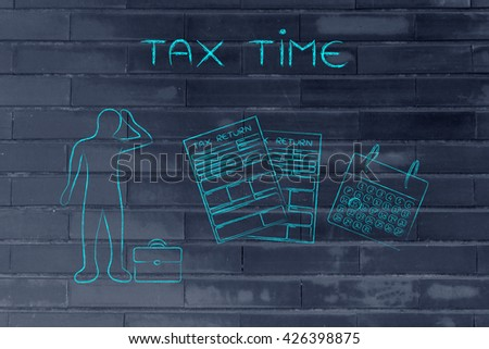tax time: stressed business man and tax return forms to fill out with calendar - stock photo