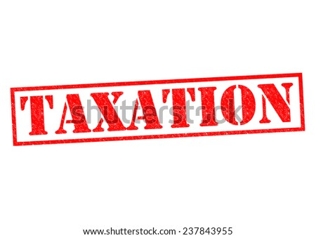 TAXATION red Rubber Stamp over a white background. - stock photo