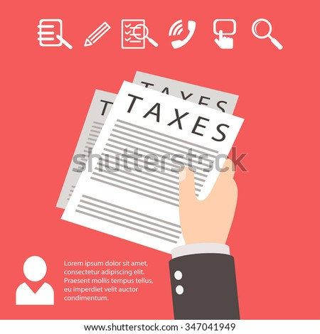 taxes, hand, paper red illustration - stock photo