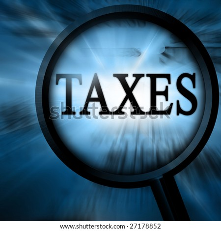 taxes in the paper on a blue background - stock photo