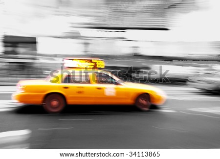 Taxi at times square in New York City - stock photo