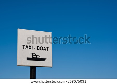 Taxi boat sign, photographed in Croatia - stock photo