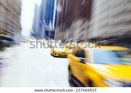 Taxi cab in New York. Blurry abstract photo - stock photo