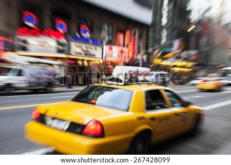 Taxi cab in New York. Motion - stock photo