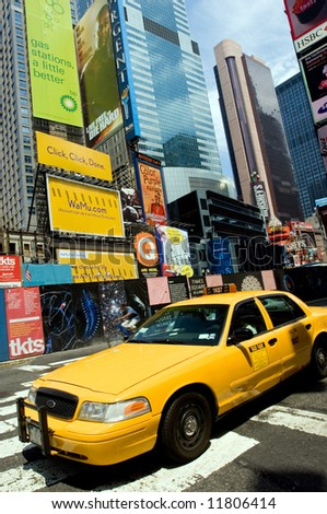 Taxi cab on Times Square, NYC - stock photo