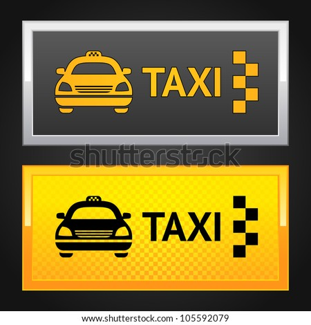 Taxi cab set label - stock photo