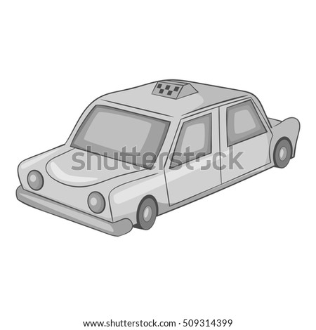 Taxi car icon. Gray monochrome illustration of taxi car  icon for web