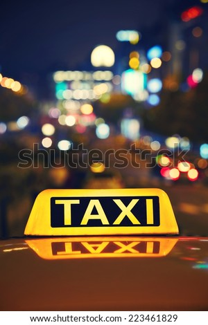 Taxi car on the street at night - Wenceslas Square, Prague - stock photo