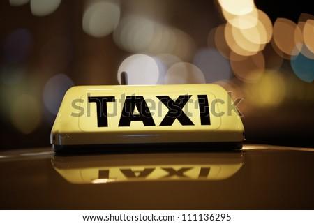 Taxi car - selective focus - stock photo