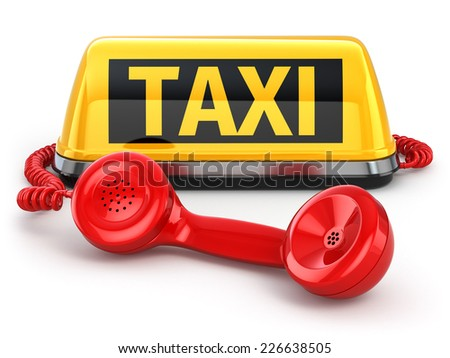 Taxi car sign and  telephone on white isolated background. 3d - stock photo