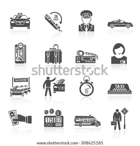 Taxi driver transportation car service cab man icons black set isolated  illustration - stock photo