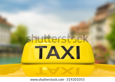 taxi for traveling with cityscape background illustration - stock photo