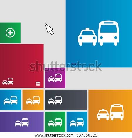 taxi icon sign. buttons. Modern interface website buttons with cursor pointer. illustration - stock photo