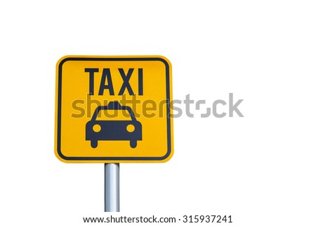 Taxi icon yellow road sign isolated on white background - stock photo