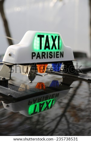 Taxi in Paris. France - stock photo