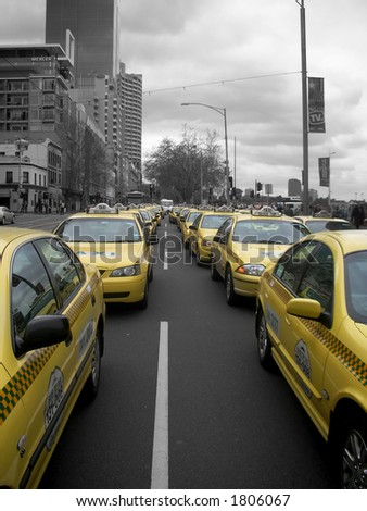 taxi line up - stock photo