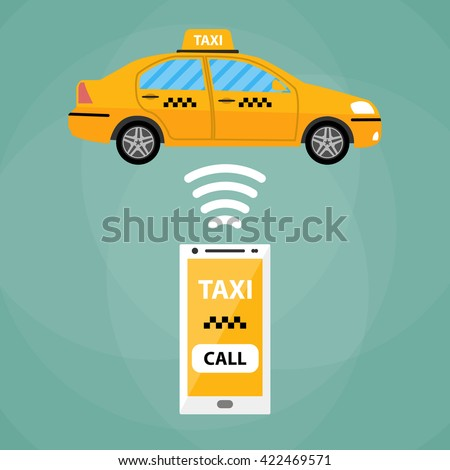Taxi mobile app concept. White Smartphone with mobile app and yellow taxi car. Taxi for smartphone. Call taxi. Taxi car. illustration in simple flat design on green background - stock photo