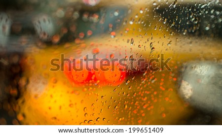 Taxi on Rainy Day - stock photo